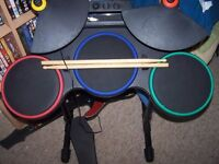 For Sale - Wii Rock Band Hero Drums/Metallica Guitar and 4 games.