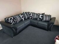 SHANNON CORNER SOFA + 3+2 SEATER SOFA + SWIVEL CHAIR AVAILABLE IN BLACK AND GREY ORDER NOW