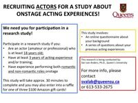 Recruiting Actors for Study about Acting Experiences!