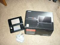 Nintendo 3 DS console, games, charger and carry cases