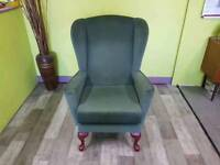 Green Wingback Chair/ Armchair For Reupholstery Project - Can Deliver For £19