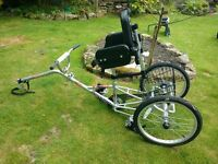 Adapted Tag-along tricycle. Mission Cycles PiggyBack Mark Ii