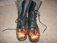 pair of biker boots , flame heel, toe... toe and heel protection size 10 hardly worn .underground