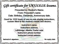 Music lesson gift certificates.