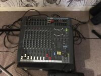 PowerStation 600 powered mixer And Peavey Pro 15 Speakers and Stands