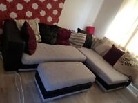 Corner sofa and footstall