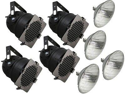 4 X BLACK PAR 56 300W PAR CAN STAGE THEATRE SCHOOL BAND LIGHTING LANTERN + LAMP