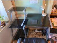 black glass desk - 3 tier shelf