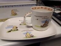 Vintage Collectible Winnie the Pooh cup and plate with tin original tin box