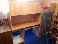 high sleeper bed with desk/wardrobe