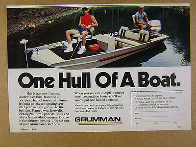 1985 Grumman OUTLAW Bass Fishing Boat color photo vintage print Ad