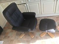 Faux leather reclining gaming chair and stool