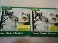 New 2 garden hanging basket brackets with butterfly design, ideal gift?