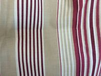 Pair of Burgundy & Beige Stripe Curtains