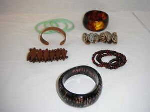 7 assorted bracelets and bangles