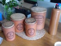 Terracotta Jars x 4 (Tea - Sugar - Flour and (a different producer) Biscuits + shnapps bottle