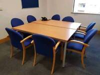 Large Boardroom Table with 8 Blue Chairs