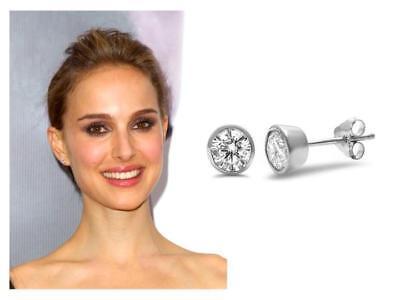 1.58 TCW Bezel 5 mm Round CZ Cubic Zirconia .925 Sterling Silver Stud Earrings!