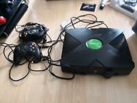 Original xbox console with games