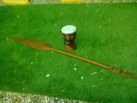 Carved Wooden Native Spear & Carved Bongo Drum