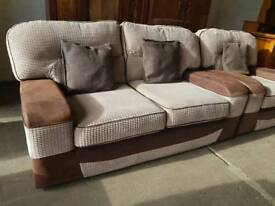 Brown corduroy 2 seater sofa with armchair in excellent condition