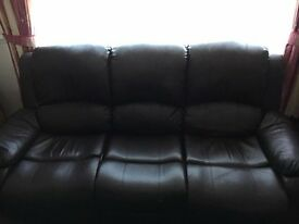2 & 3 SEATER RECLINING BROWN LEATHER SOFA'S - FREE TO COLLECTOR
