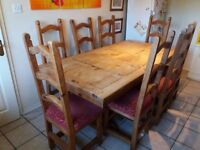 Dining table and chairs - seats 8, Mexican pine