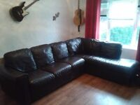 BROWN LEATHER CORNER GROUP
