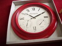 Large Red Torrington weather clock Brand new still boxed