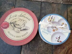 BNIB brie baker & porcelain cheese plates. New, Kitchen dishes