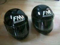 TWO FM RZ1 BLACK HELMETS SIZE M AND SIZE S