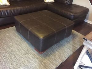 Brown faux leather ottoman