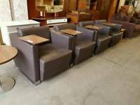 Brown leather reception chairs, x4 available