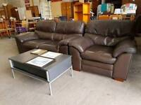 2 seater Brown Leather Sofa with Matching Armchair
