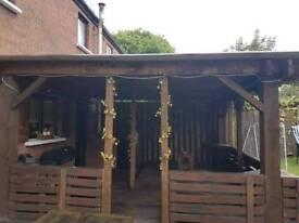 Pergola Dark Brown with Cladding roof