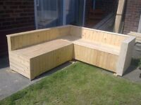 L Shaped Garden/Conservatory joiner made bench seat constructed of reclaimed timber