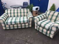 IKEA CHECKED GREEN TWO SEATER SOFA AND SINGLE ARMCHAIR