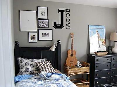 PERSONALIZED NAME LETTER Sports Varsity Boy Vinyl Wall Decal