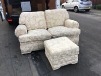 Fabric 2 seater sofa and foot stool