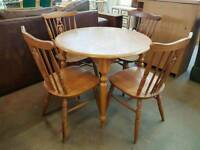 Round pine kitchen table with 4 chairs