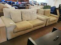 Large beige fabric 2 seater sofa and armchair suite