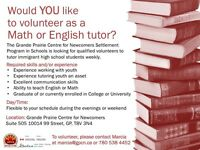 Looking for Math&English Volunteer Tutors for Immigrant Students