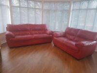 Stunning red leather suite 3 seater sofa and 2 seater sofa