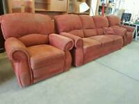 Large red fabric 3 seater sofa with armchair + recliner