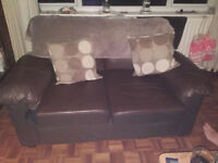 Brown 2 seater leather sofa - FREE to collector