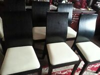 WOOD,,6 BLACK CHAIRS, V, GOOD CONDITION