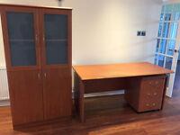 Home Office Desk, 3 Draw Pedestal & Cabinet