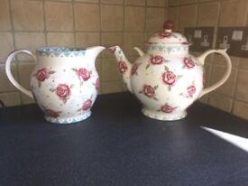 Emma Bridgewater Rose and Bee gallon teapot and 6 pint jug