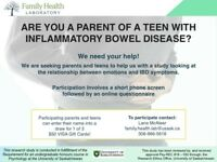 ARE YOU A PARENT OF A TEEN WITH INFLAMMATORY BOWEL DISEASE?