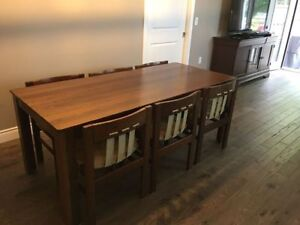 Antique 1970s DeBoer's Solid Wenge Wood D/R Table & 6 Chairs
